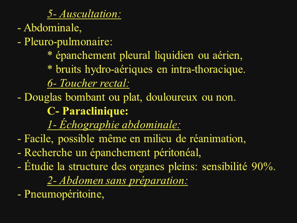 5- Auscultation: - Abdominale, - Pleuro-pulmonaire: * épanchement pleural liquidien ou aérien, * bruits hydro-aériques en intra-thoracique. 6- Toucher