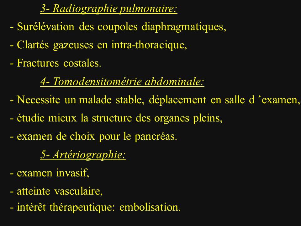 3- Radiographie pulmonaire: - Surélévation des coupoles diaphragmatiques, - Clartés gazeuses en intra-thoracique, - Fractures costales. 4- Tomodensito