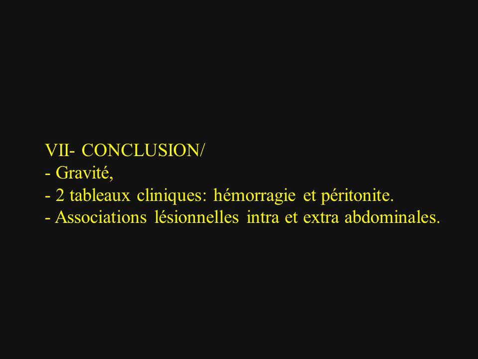 VII- CONCLUSION/ - Gravité, - 2 tableaux cliniques: hémorragie et péritonite. - Associations lésionnelles intra et extra abdominales.