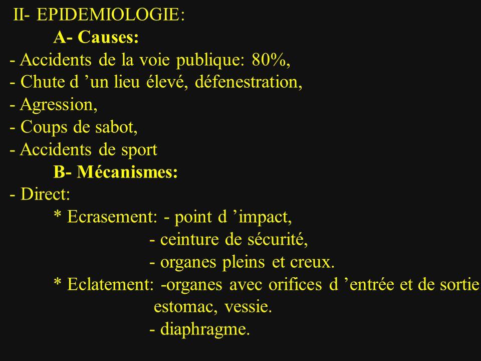 C- Indications: 1- Traitement chirurgical d emblée: - Etat hémodynamique instable malgré réanimation, -Lésions d organes creux.