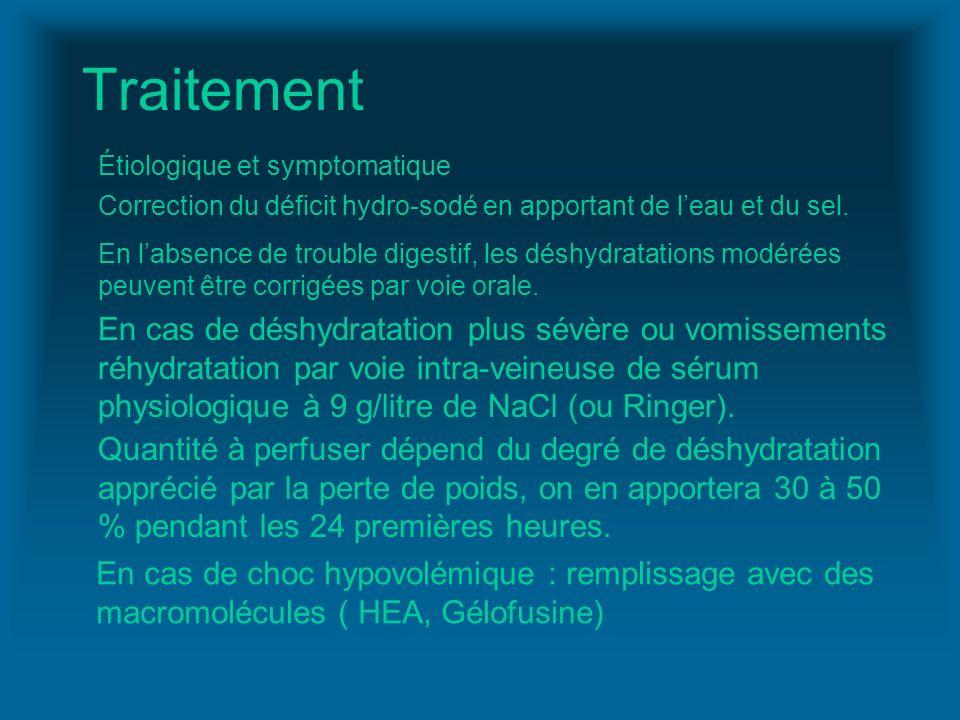 Traitement Étiologique et symptomatique Correction du déficit hydro-sodé en apportant de leau et du sel. En labsence de trouble digestif, les déshydra