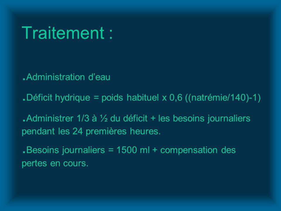 Traitement :. Administration deau. Déficit hydrique = poids habituel x 0,6 ((natrémie/140)-1). Administrer 1/3 à ½ du déficit + les besoins journalier