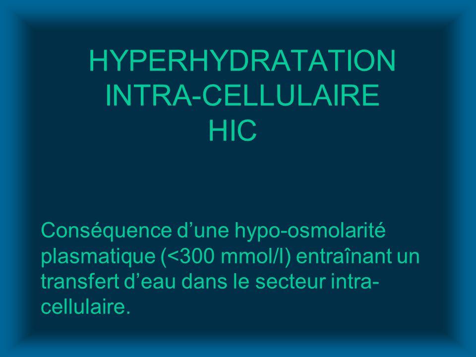 HYPERHYDRATATION INTRA-CELLULAIRE HIC Conséquence dune hypo-osmolarité plasmatique (<300 mmol/l) entraînant un transfert deau dans le secteur intra- c