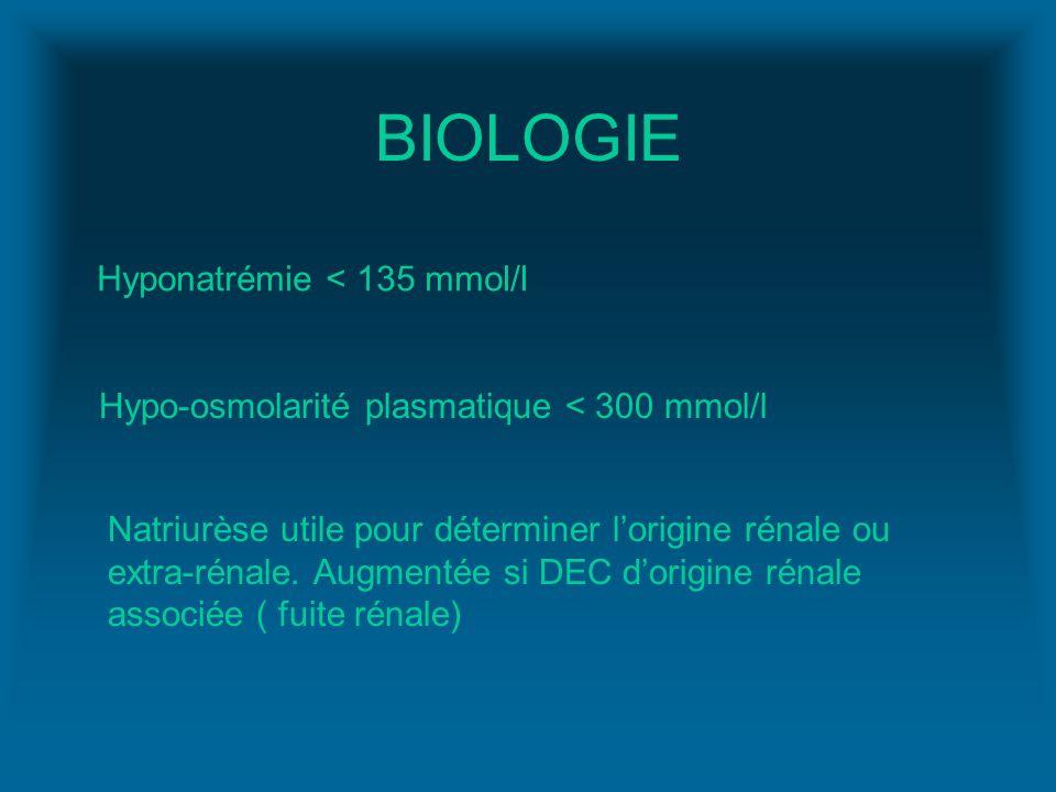 BIOLOGIE Hyponatrémie < 135 mmol/l Hypo-osmolarité plasmatique < 300 mmol/l Natriurèse utile pour déterminer lorigine rénale ou extra-rénale. Augmenté