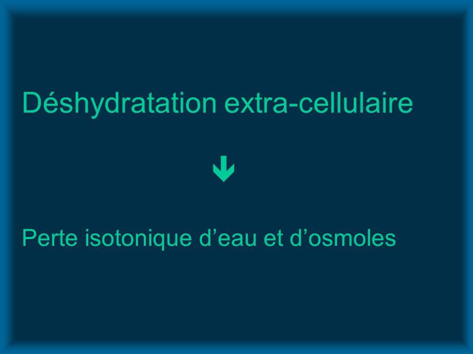 Déshydratation extra-cellulaire Perte isotonique deau et dosmoles