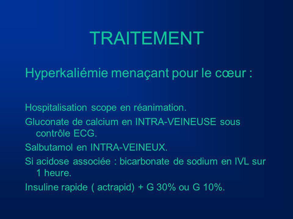 TRAITEMENT Hyperkaliémie menaçant pour le cœur : Hospitalisation scope en réanimation. Gluconate de calcium en INTRA-VEINEUSE sous contrôle ECG. Salbu