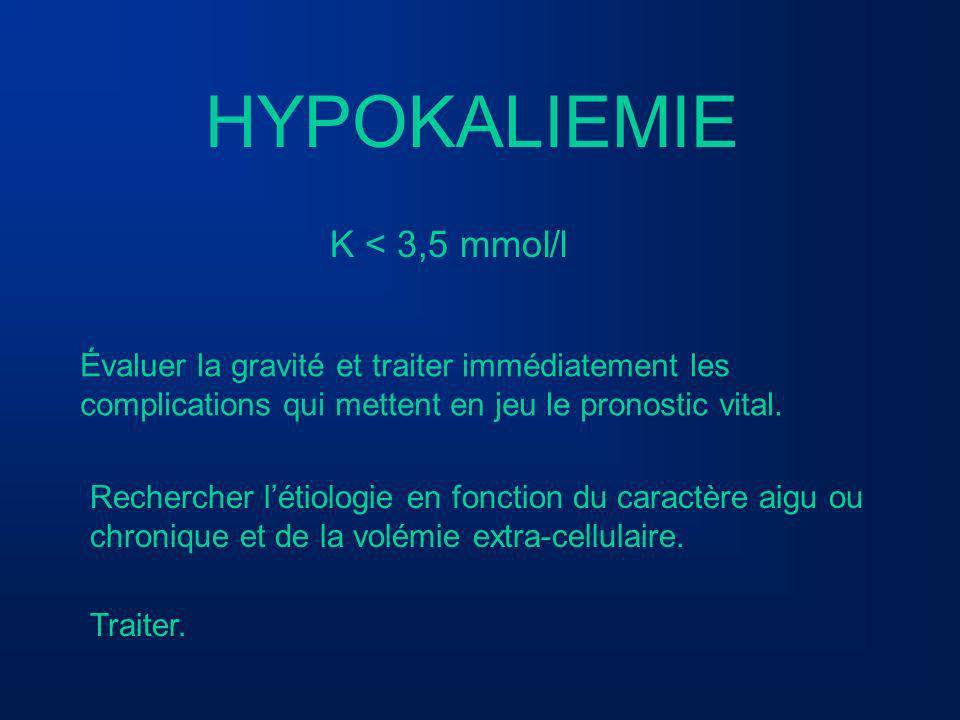 HYPOKALIEMIE K < 3,5 mmol/l Évaluer la gravité et traiter immédiatement les complications qui mettent en jeu le pronostic vital. Rechercher létiologie