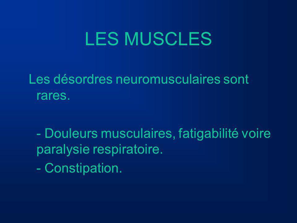 LES MUSCLES Les désordres neuromusculaires sont rares. - Douleurs musculaires, fatigabilité voire paralysie respiratoire. - Constipation.