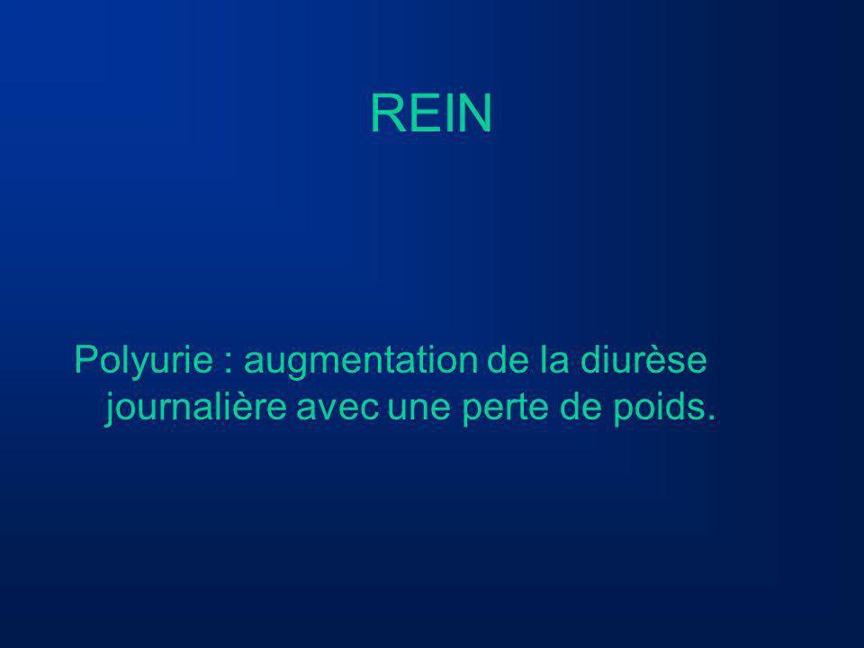 REIN Polyurie : augmentation de la diurèse journalière avec une perte de poids.
