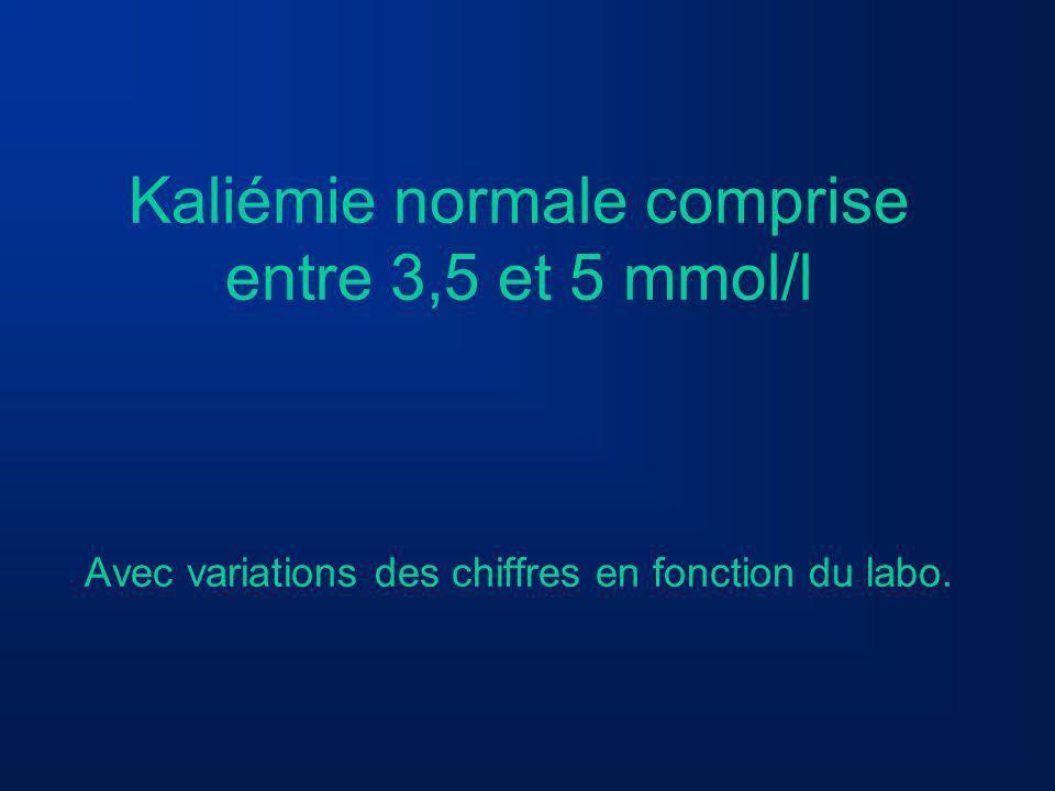 HYPERKALIEMIE On parle dhyperkaliémie pour des chiffres > 5mmol/l Une kaliémie > 6,5 peut être responsable de troubles du rythme cardiaques donc GRAVE.