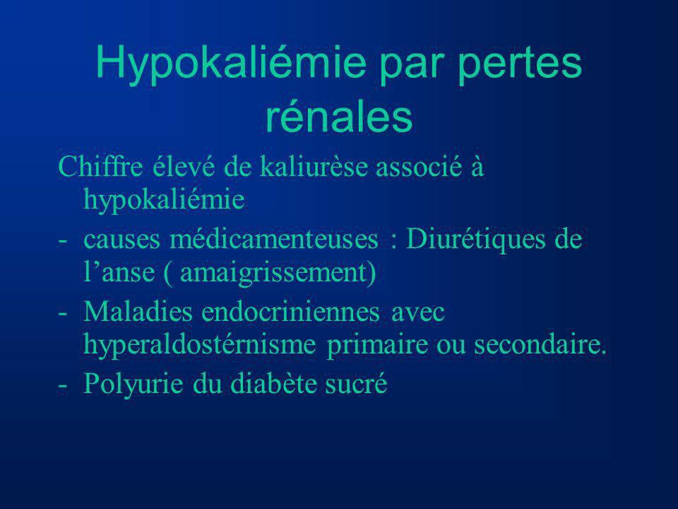 Hypokaliémie par pertes rénales Chiffre élevé de kaliurèse associé à hypokaliémie -causes médicamenteuses : Diurétiques de lanse ( amaigrissement) -Ma