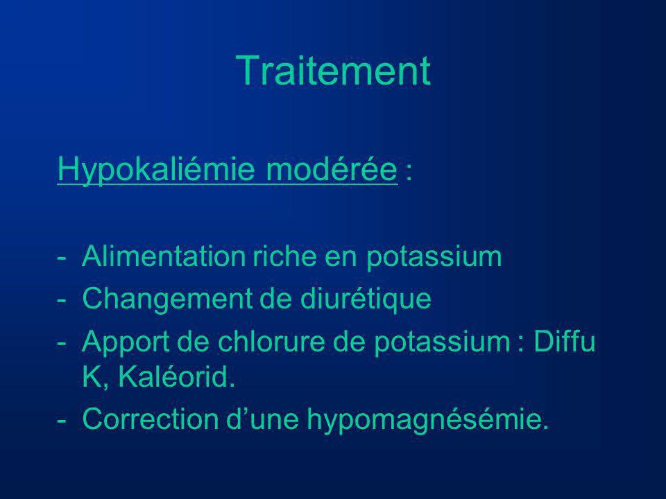 Traitement Hypokaliémie modérée : -Alimentation riche en potassium -Changement de diurétique -Apport de chlorure de potassium : Diffu K, Kaléorid. -Co