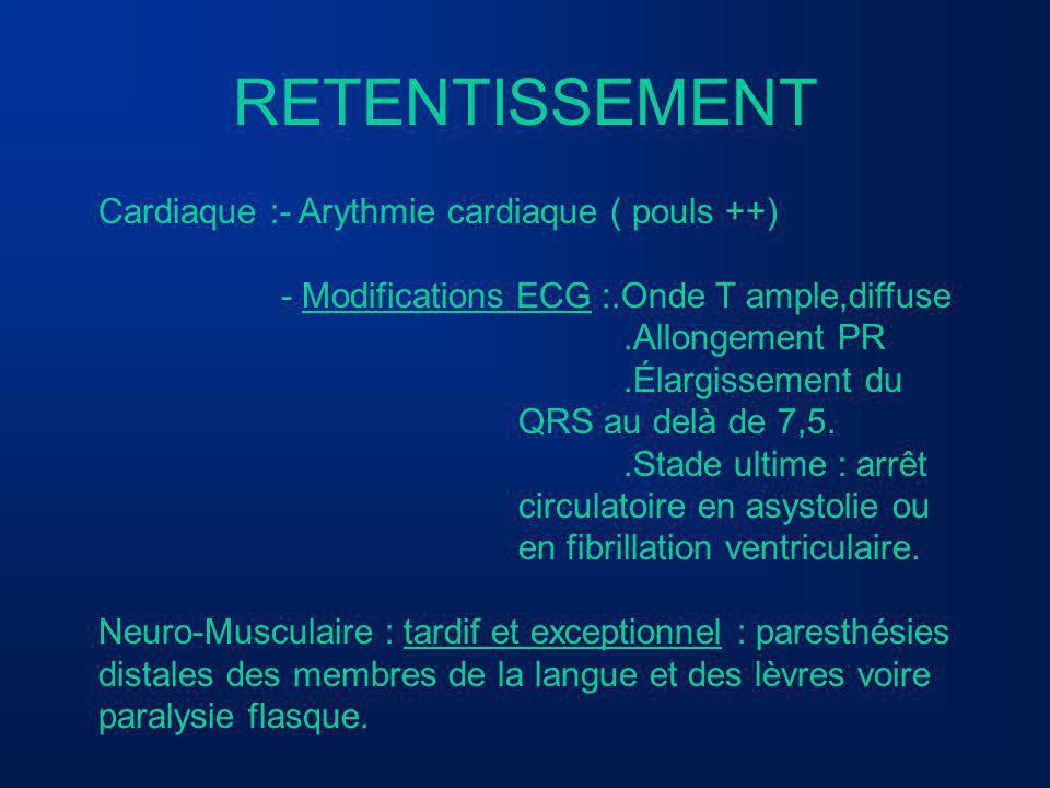 RETENTISSEMENT Cardiaque :- Arythmie cardiaque ( pouls ++) - Modifications ECG :.Onde T ample,diffuse.Allongement PR.Élargissement du QRS au delà de 7