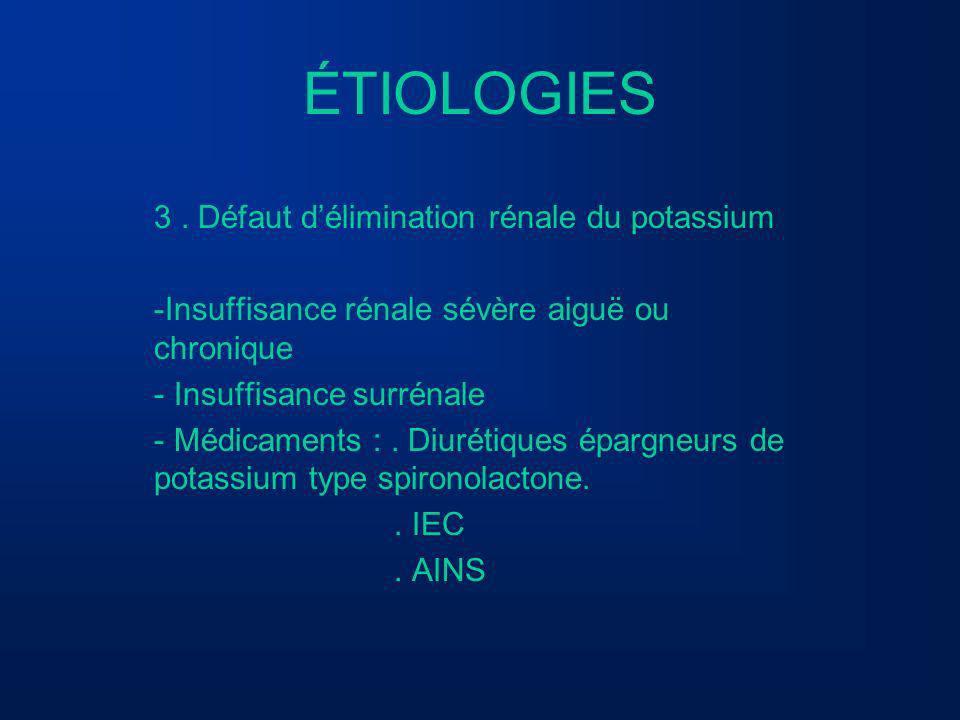 ÉTIOLOGIES 3. Défaut délimination rénale du potassium -Insuffisance rénale sévère aiguë ou chronique - Insuffisance surrénale - Médicaments :. Diuréti