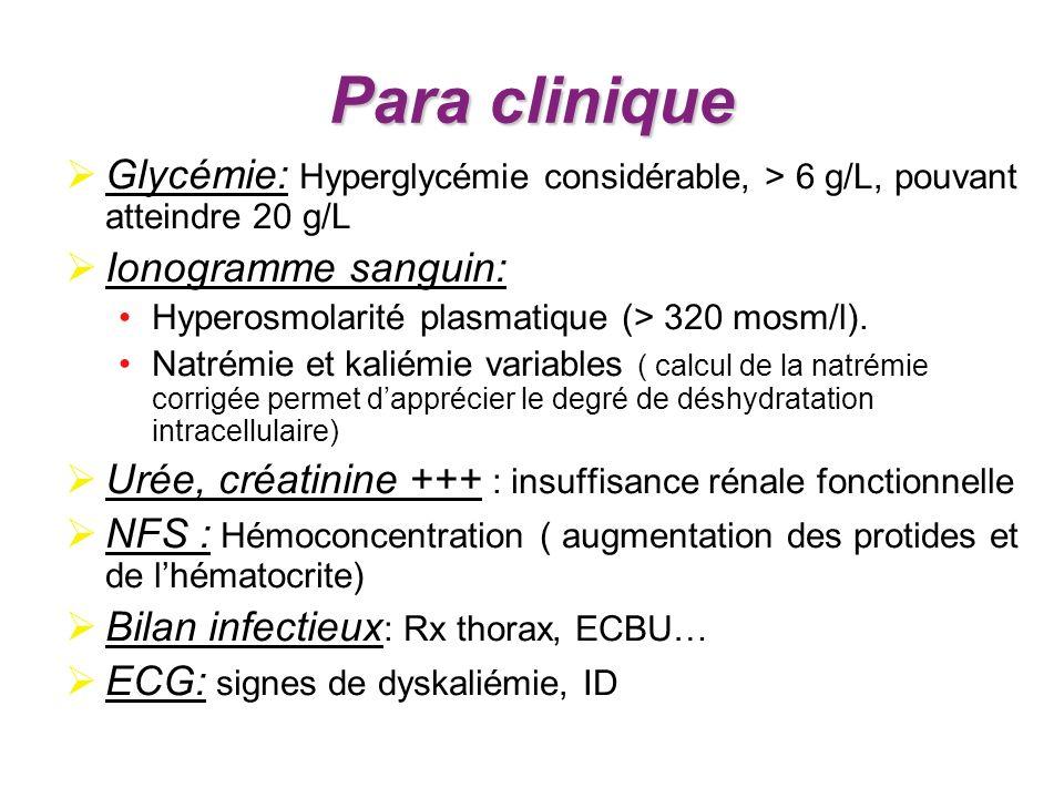 Para clinique Glycémie: Hyperglycémie considérable, > 6 g/L, pouvant atteindre 20 g/L Ionogramme sanguin: Hyperosmolarité plasmatique (> 320 mosm/l).