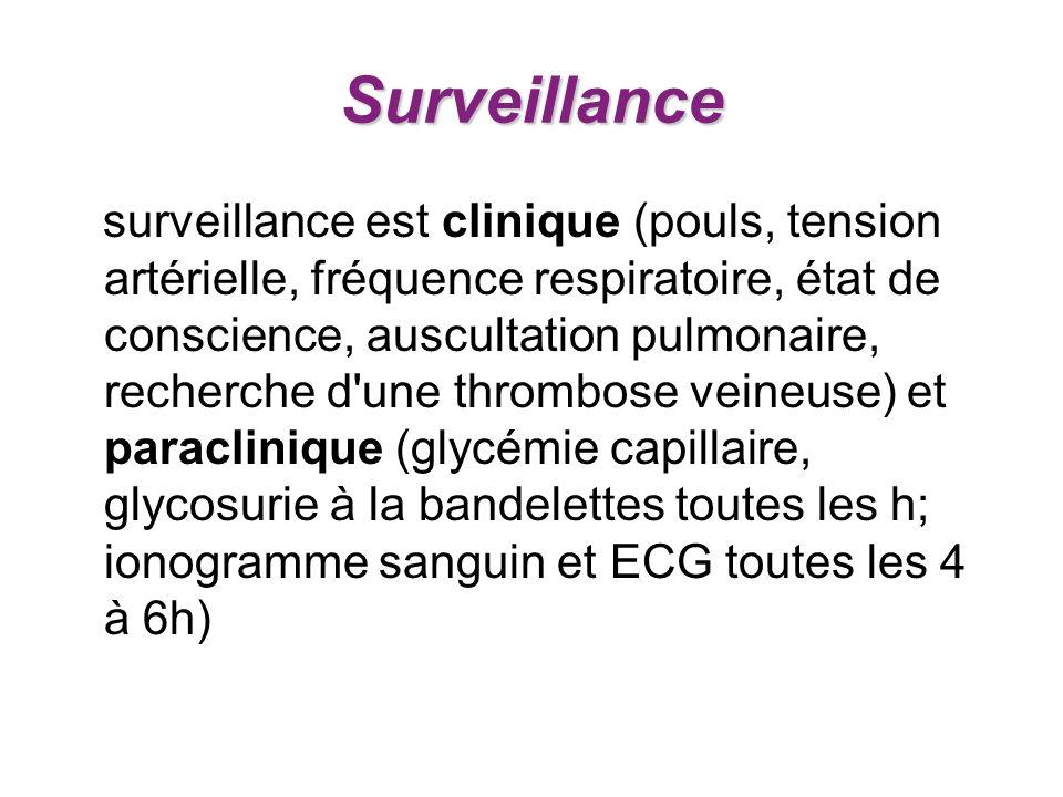 Surveillance surveillance est clinique (pouls, tension artérielle, fréquence respiratoire, état de conscience, auscultation pulmonaire, recherche d'un