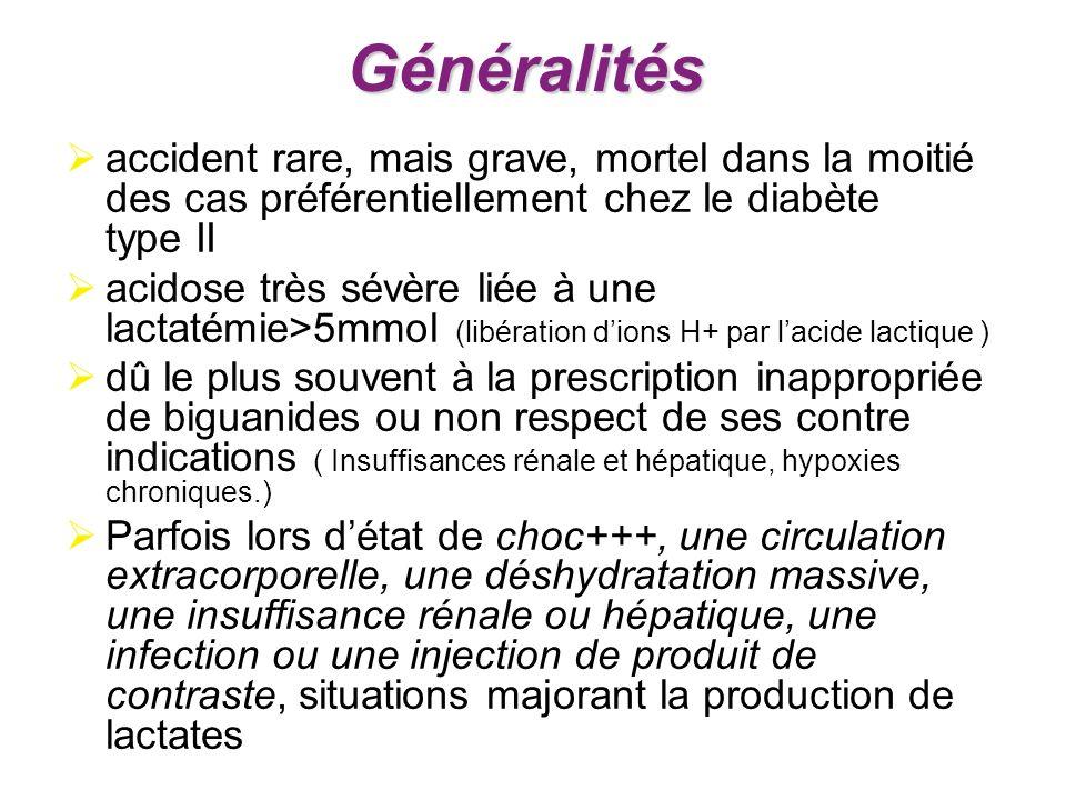 Généralités accident rare, mais grave, mortel dans la moitié des cas préférentiellement chez le diabète type II acidose très sévère liée à une lactaté