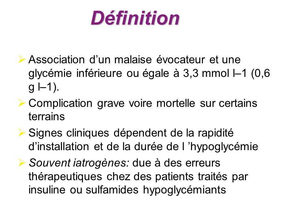 Association dun malaise évocateur et une glycémie inférieure ou égale à 3,3 mmol l–1 (0,6 g l–1). Complication grave voire mortelle sur certains terra
