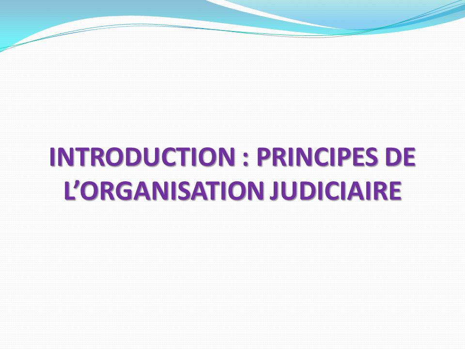 INTRODUCTION : PRINCIPES DE LORGANISATION JUDICIAIRE
