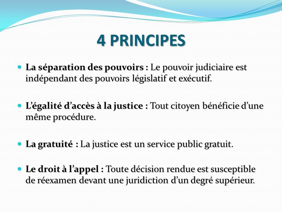 4 PRINCIPES La séparation des pouvoirs : Le pouvoir judiciaire est indépendant des pouvoirs législatif et exécutif. La séparation des pouvoirs : Le po