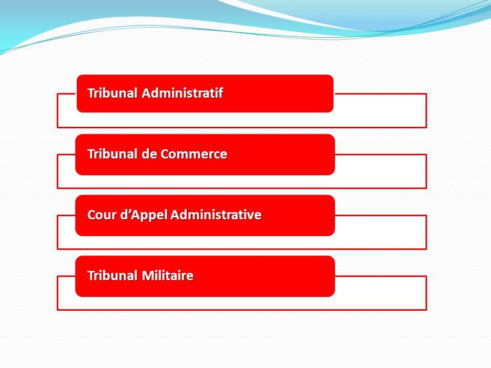 Tribunal Administratif Tribunal de Commerce Cour dAppel Administrative Tribunal Militaire