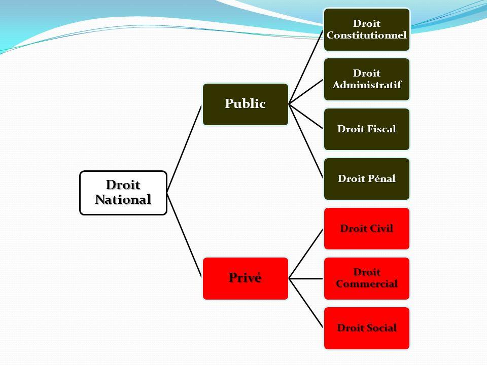 Droit National Public Droit Constitutionnel Droit Administratif Droit Fiscal Droit Pénal Privé Droit Civil Droit Commercial Droit Social