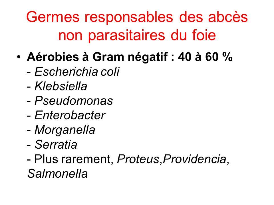 Germes responsables des abcès non parasitaires du foie Aérobies à Gram négatif : 40 à 60 % - Escherichia coli - Klebsiella - Pseudomonas - Enterobacter - Morganella - Serratia - Plus rarement, Proteus,Providencia, Salmonella