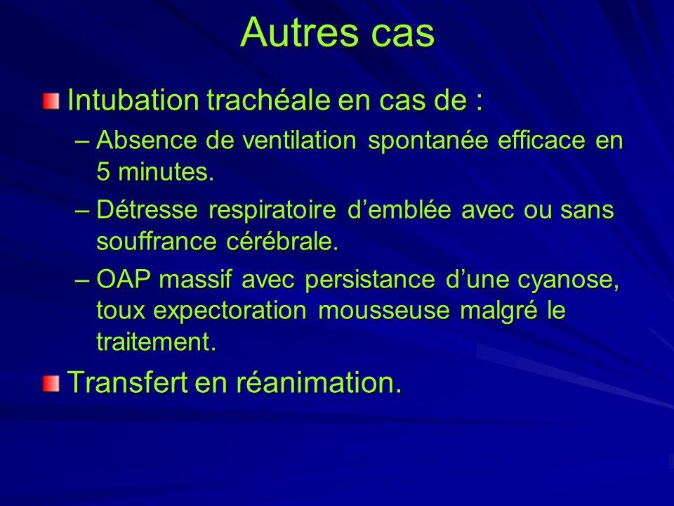 Autres cas Intubation trachéale en cas de : –Absence de ventilation spontanée efficace en 5 minutes. –Détresse respiratoire demblée avec ou sans souff