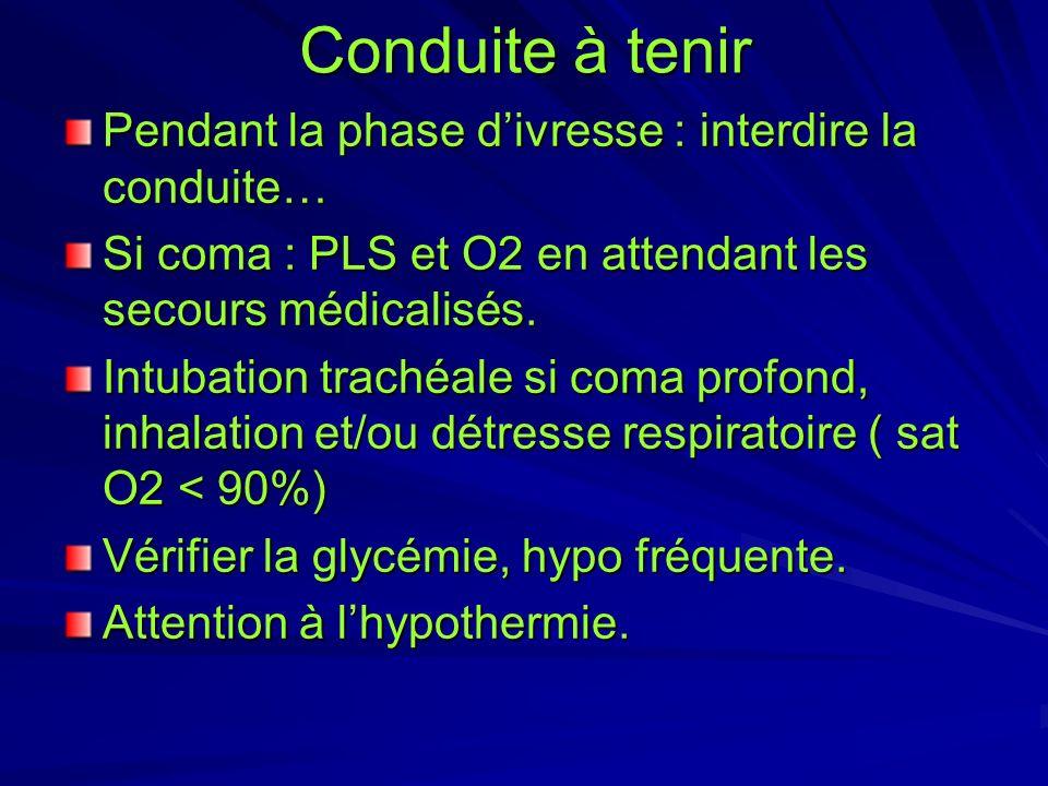 Conduite à tenir Pendant la phase divresse : interdire la conduite… Si coma : PLS et O2 en attendant les secours médicalisés. Intubation trachéale si