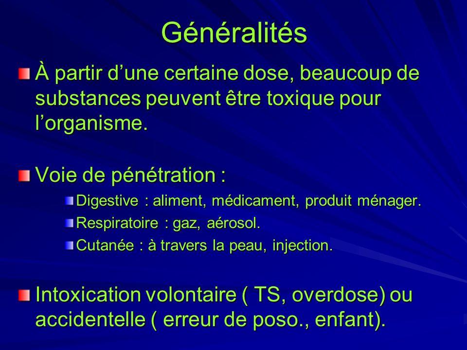 Généralités À partir dune certaine dose, beaucoup de substances peuvent être toxique pour lorganisme. Voie de pénétration : Digestive : aliment, médic