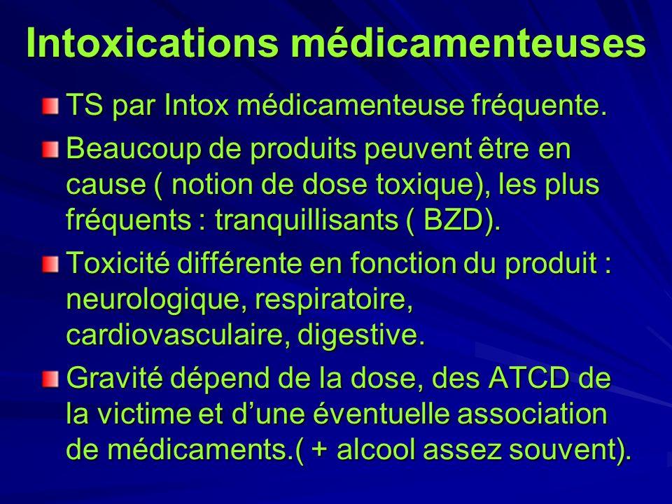 Intoxications médicamenteuses TS par Intox médicamenteuse fréquente. Beaucoup de produits peuvent être en cause ( notion de dose toxique), les plus fr