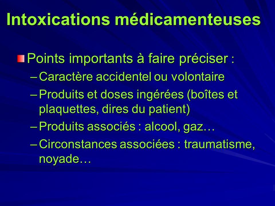 Intoxications médicamenteuses Points importants à faire préciser : –Caractère accidentel ou volontaire –Produits et doses ingérées (boîtes et plaquett