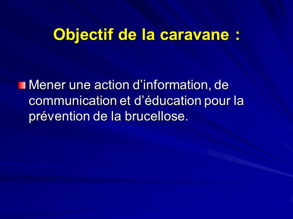 Objectif de la caravane : Mener une action dinformation, de communication et déducation pour la prévention de la brucellose.