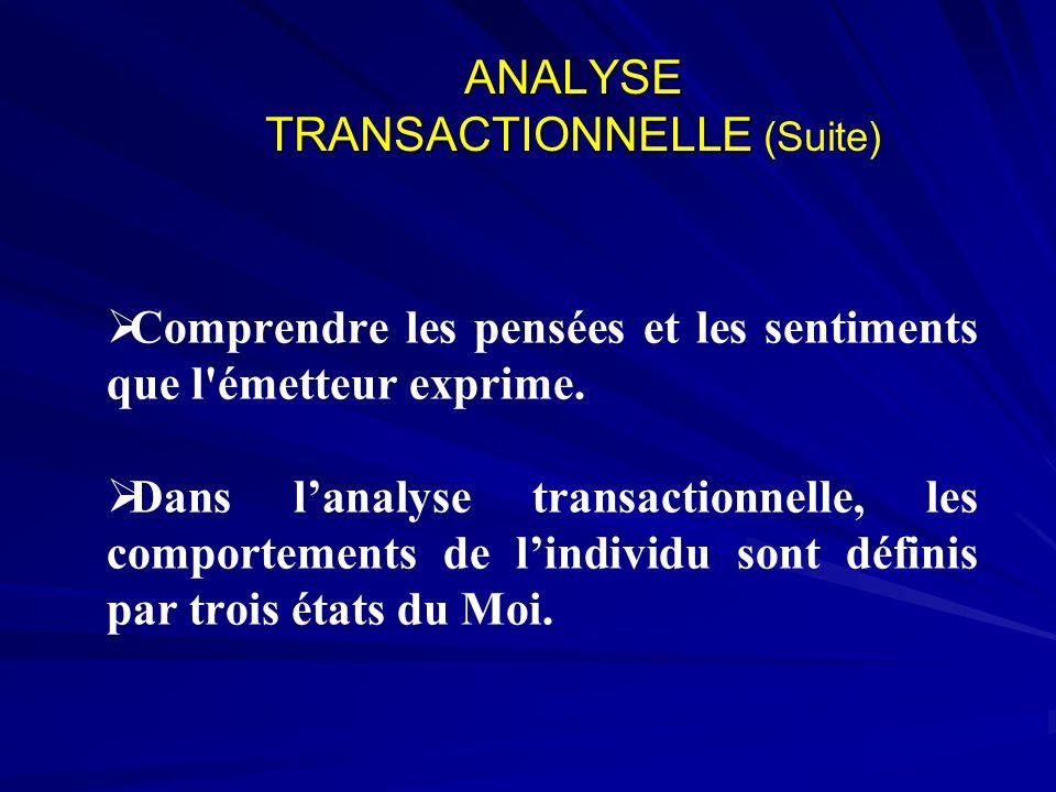 ANALYSE TRANSACTIONNELLE ANALYSE TRANSACTIONNELLE (Suite) Comprendre les pensées et les sentiments que l'émetteur exprime. Dans lanalyse transactionne