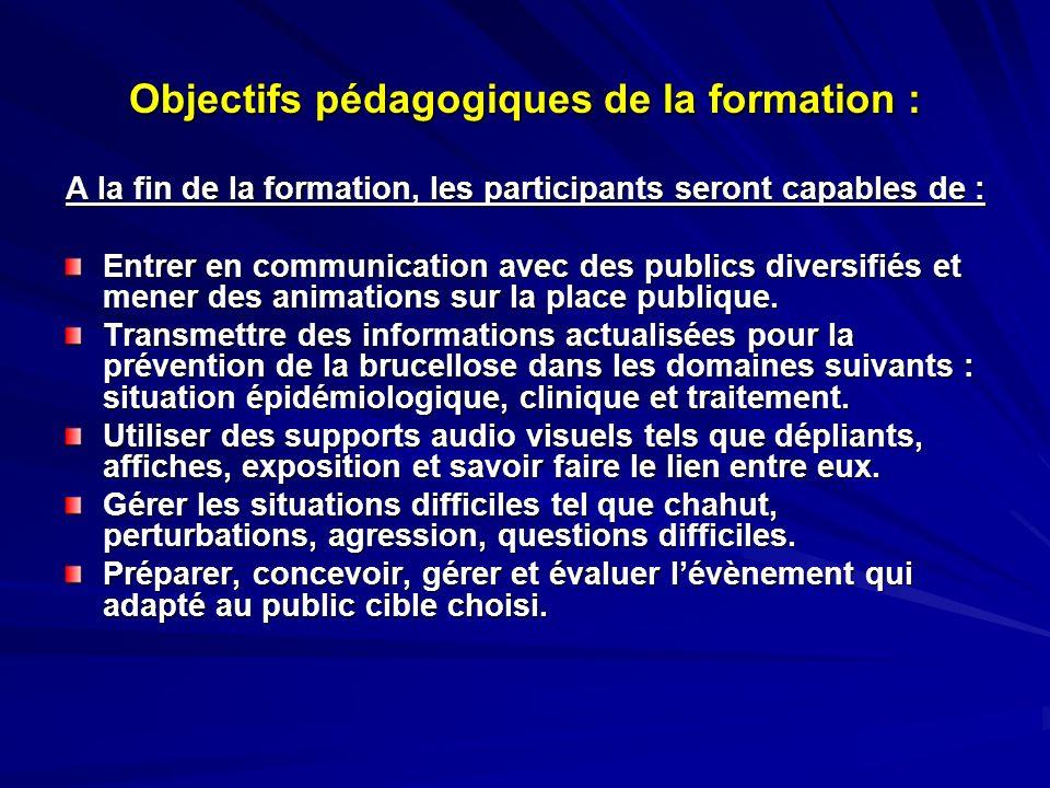 Objectifs pédagogiques de la formation : A la fin de la formation, les participants seront capables de : Entrer en communication avec des publics dive
