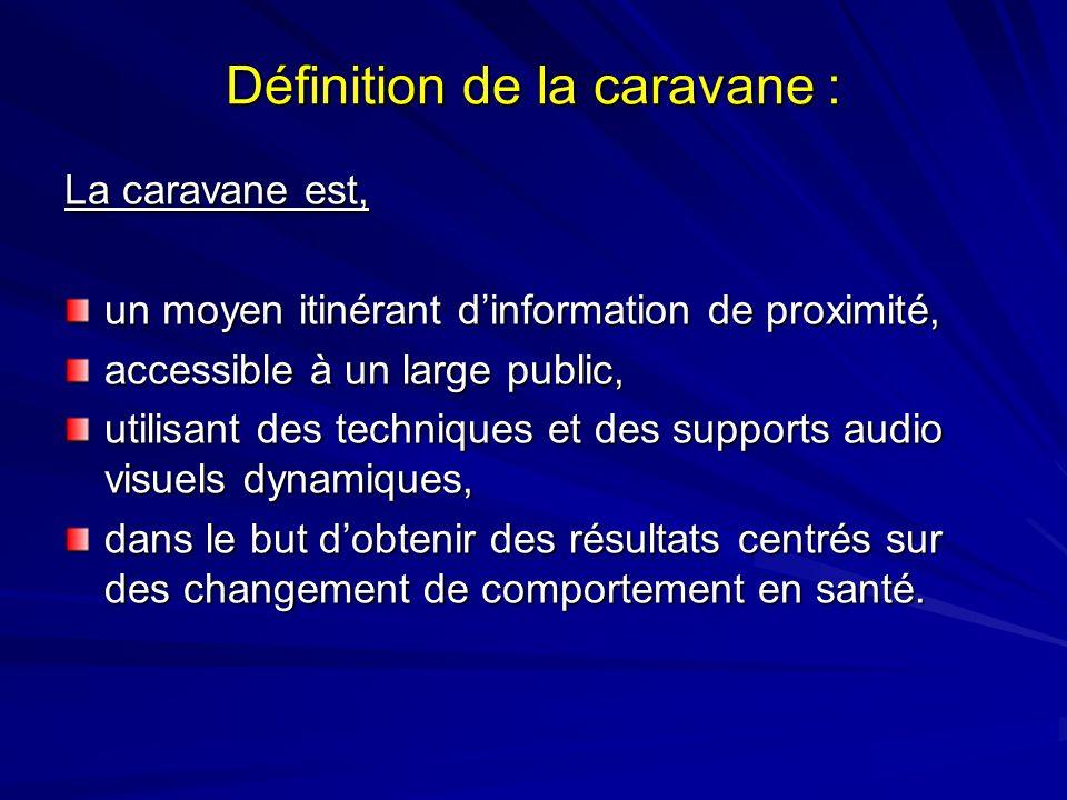 Définition de la caravane : La caravane est, un moyen itinérant dinformation de proximité, accessible à un large public, utilisant des techniques et d
