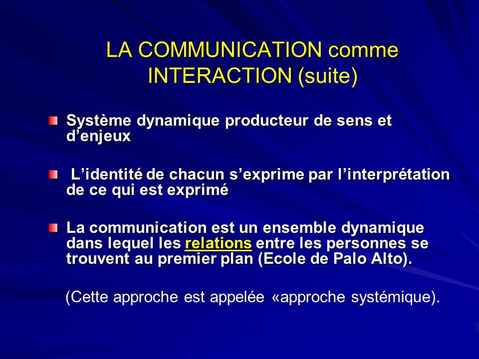 LA COMMUNICATION comme INTERACTION LA COMMUNICATION comme INTERACTION (suite) Système dynamique producteur de sens et denjeux Lidentité de chacun sexp