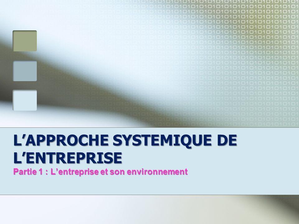 LAPPROCHE SYSTEMIQUE DE LENTREPRISE Partie 1 : Lentreprise et son environnement