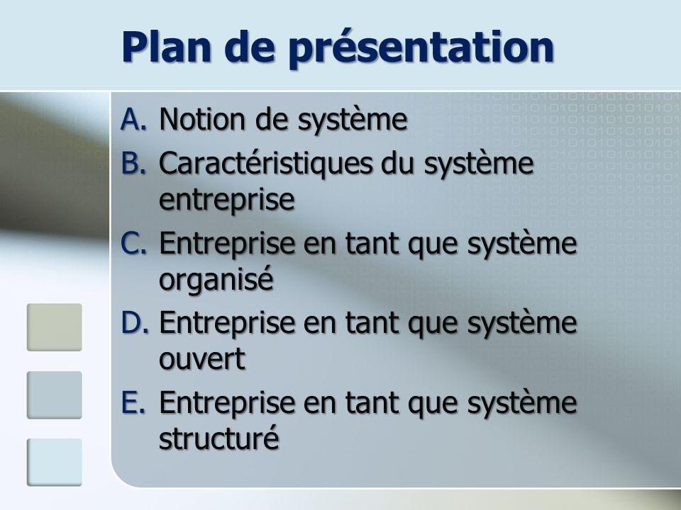 Plan de présentation A.Notion de système B.Caractéristiques du système entreprise C.Entreprise en tant que système organisé D.Entreprise en tant que s