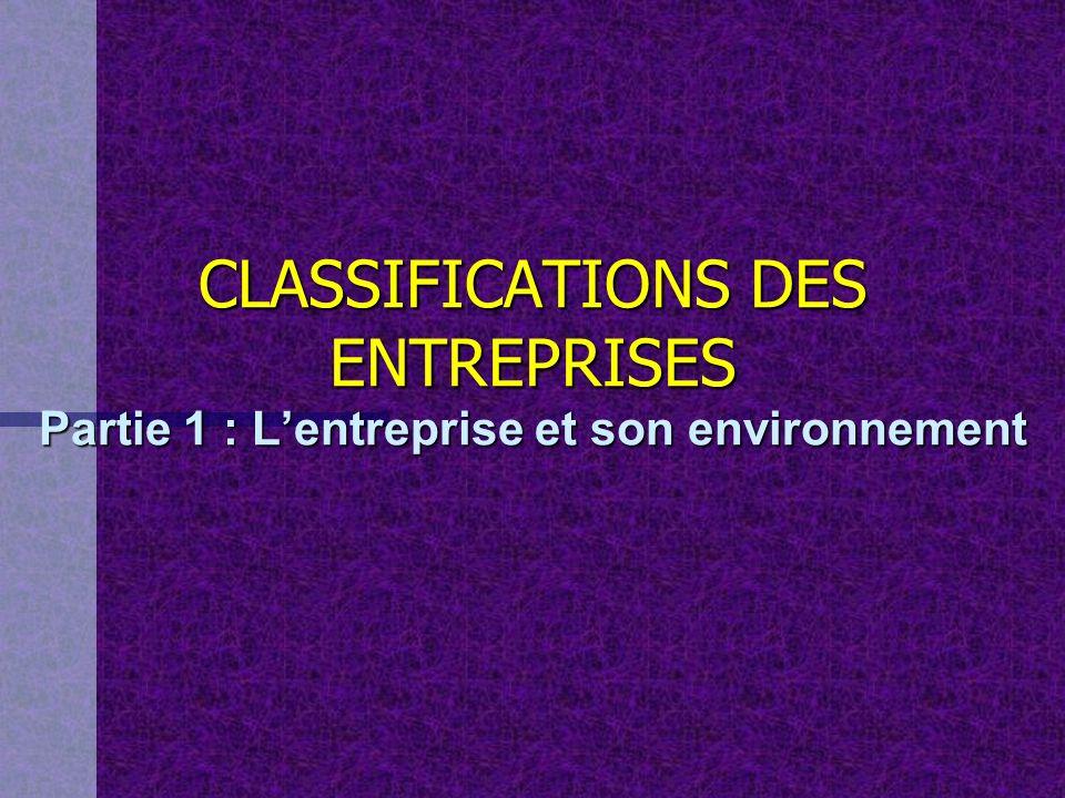 CLASSIFICATIONS DES ENTREPRISES Partie 1 : Lentreprise et son environnement