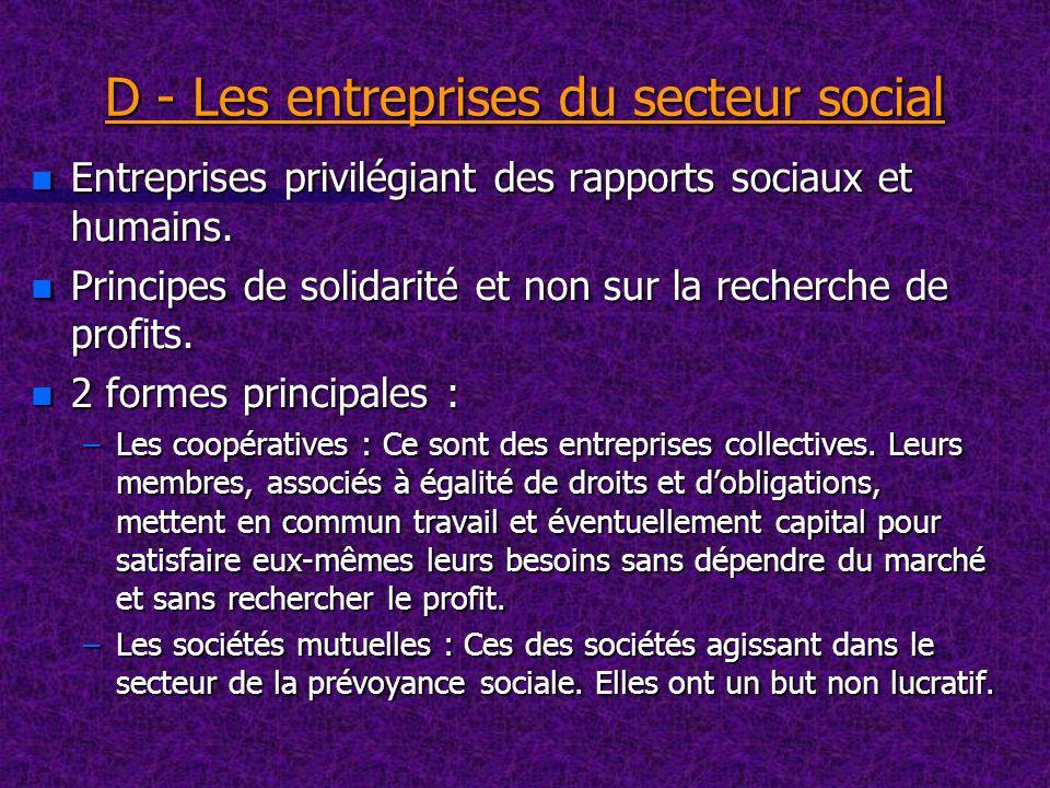 D - Les entreprises du secteur social n Entreprises privilégiant des rapports sociaux et humains. n Principes de solidarité et non sur la recherche de