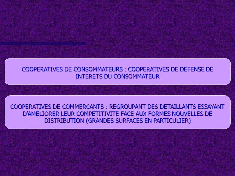 COOPERATIVES DE CONSOMMATEURS : COOPERATIVES DE DEFENSE DE INTERETS DU CONSOMMATEUR COOPERATIVES DE COMMERCANTS : REGROUPANT DES DETAILLANTS ESSAYANT