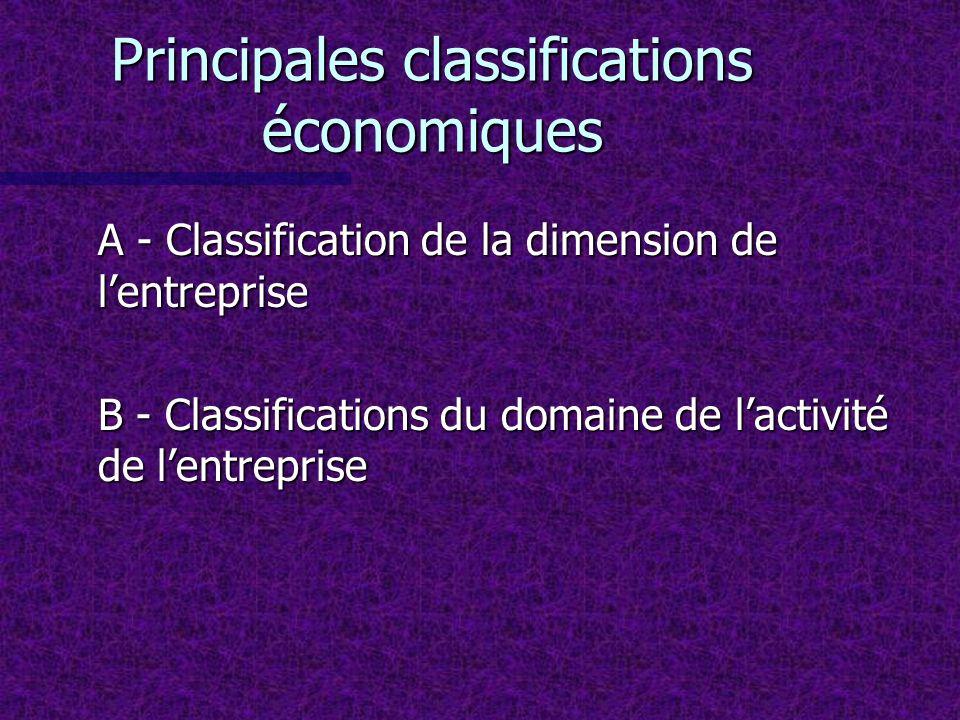 Principales classifications économiques A - Classification de la dimension de lentreprise B - Classifications du domaine de lactivité de lentreprise