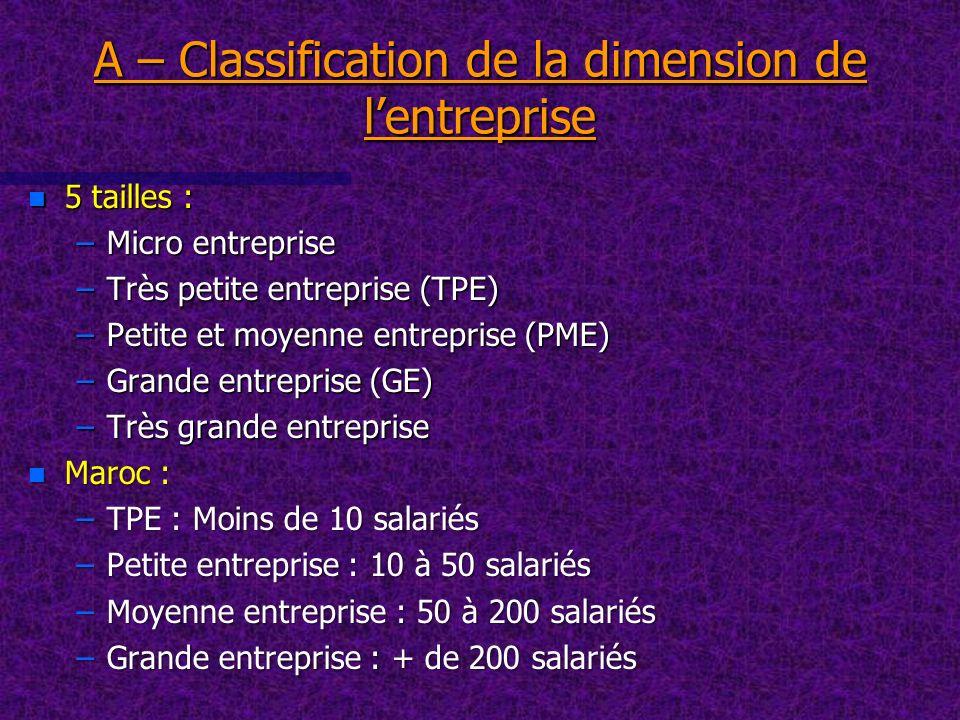 A – Classification de la dimension de lentreprise n 5 tailles : –Micro entreprise –Très petite entreprise (TPE) –Petite et moyenne entreprise (PME) –G