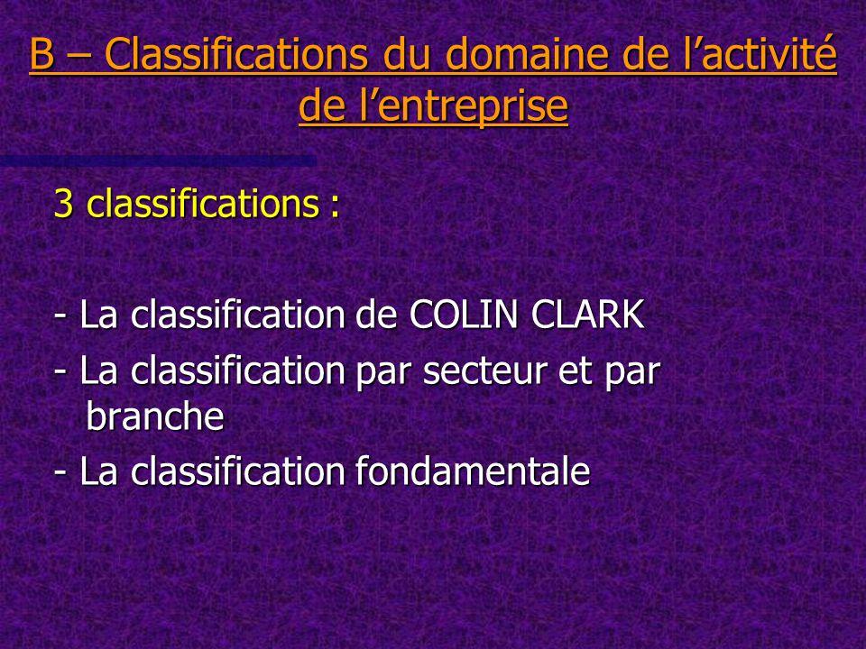 3 classifications : - La classification de COLIN CLARK - La classification par secteur et par branche - La classification fondamentale B – Classificat