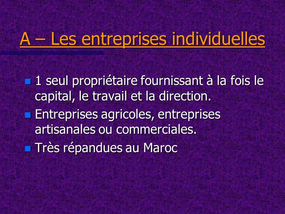 A – Les entreprises individuelles n 1 seul propriétaire fournissant à la fois le capital, le travail et la direction. n Entreprises agricoles, entrepr