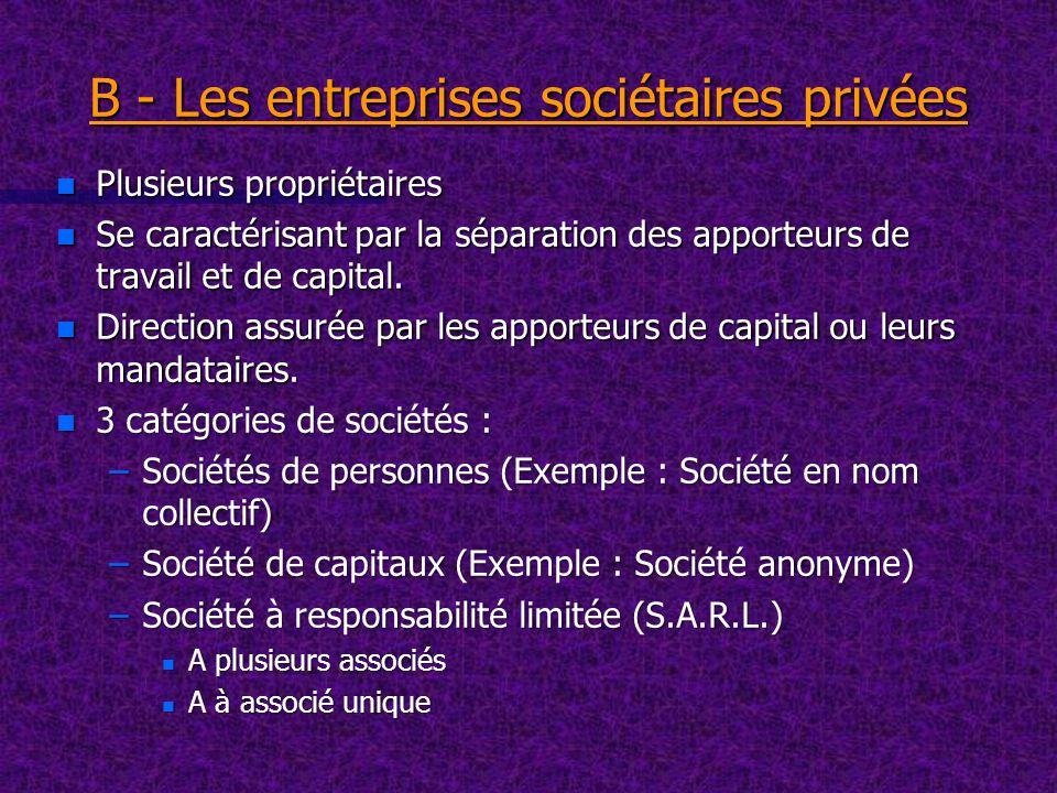 B - Les entreprises sociétaires privées n Plusieurs propriétaires n Se caractérisant par la séparation des apporteurs de travail et de capital. n Dire
