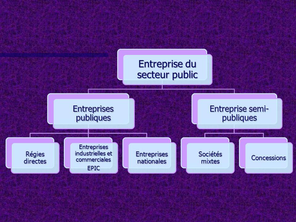 REGIES DIRECTES ENTREPRISES PUBLIQUES INDUSTRIELLES ET COMMERCIALES ENTREPRISES NATIONALES ENTREPRISES DINTERET PUBLIC GEREES PAR DES FONCTIONNAIRES OU DES COLLECTIVITES LOCALES Exemple : Régies de distribution de leau et de lélectricité ENTREPRISES PUBLIQUES AYANT UNE ACTIVITÉ INDUSTRIELLE OU COMMERCIALE GÉRÉES DE LA MÊME MANIÈRE QUE LES ENTREPRISES PUBLIQUES ET CHERCHANT À RÉALISER UN PROFIT.
