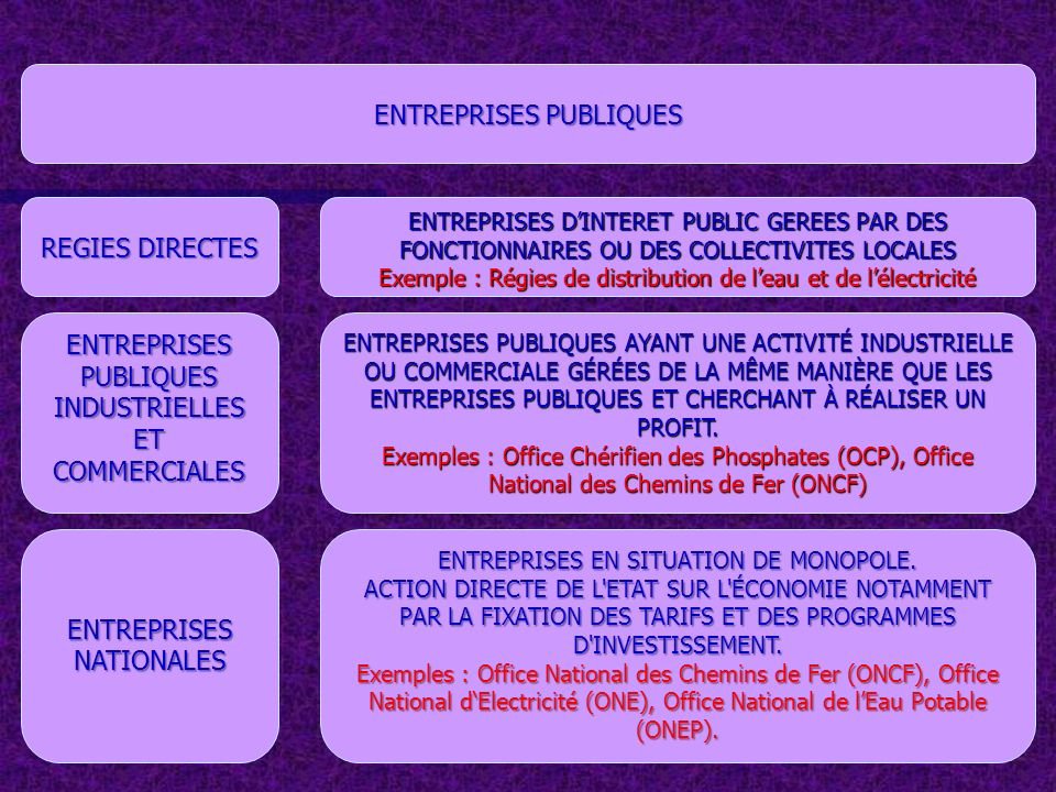 SOCIETES MIXTES CONCESSIONS ENTREPRISES DANS LESQUELS SONT ASSOCIES DES CAPITAUX PUBLICS ET DES CAPITAUX PRIVES Exemple : Société Marocaine des Assurances à lExportation (SMAEX), Royal Air Maroc (RAM) ENTREPRISES INTERVENANT DANS LE DOMAINE DES SERVICES PUBLICS GÉRÉES PAR UN PARTICULIER OU PAR UNE SOCIÉTÉ PRIVÉE.