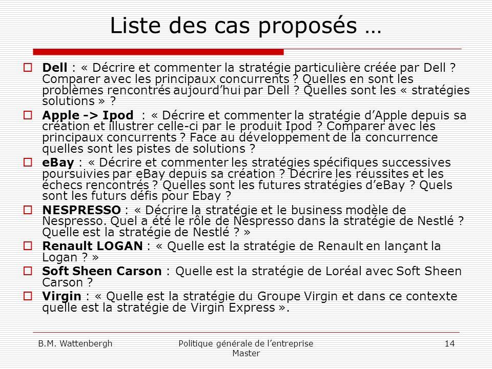 B.M. WattenberghPolitique générale de lentreprise Master 14 Liste des cas proposés … Dell : « Décrire et commenter la stratégie particulière créée par